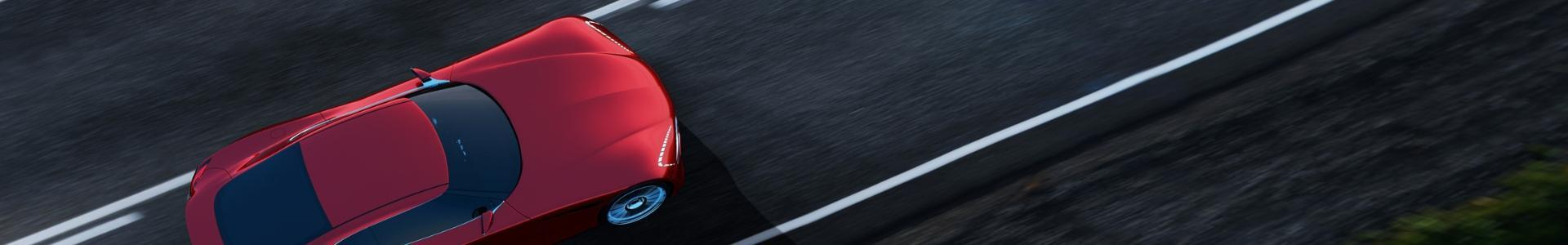 Czerwony samochód na drodze